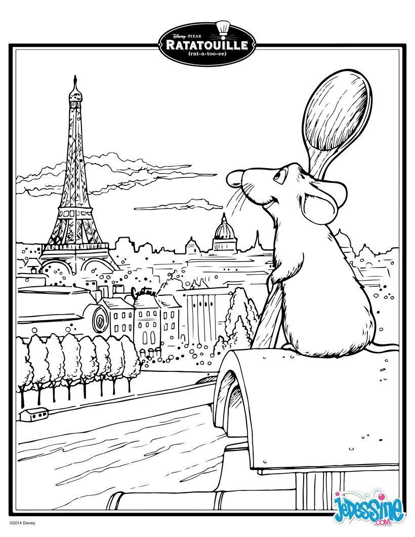 Coloriage : Rauille - Rémy … | Coloriage Tour Eiffel pour Dessin Ratatouille