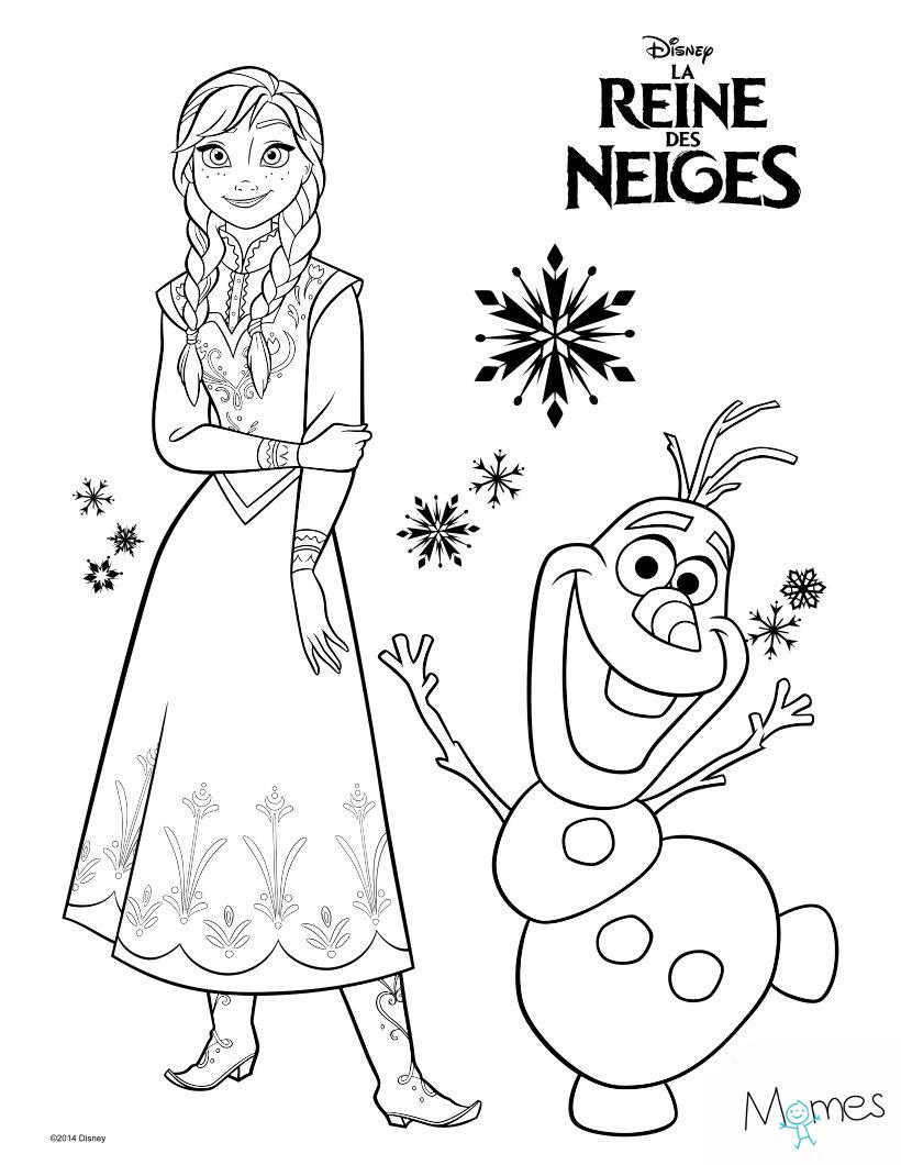 Coloriage Reine Des Neiges : Anna Et Olaf - Momes tout Dessin Pour Enfant À Colorier