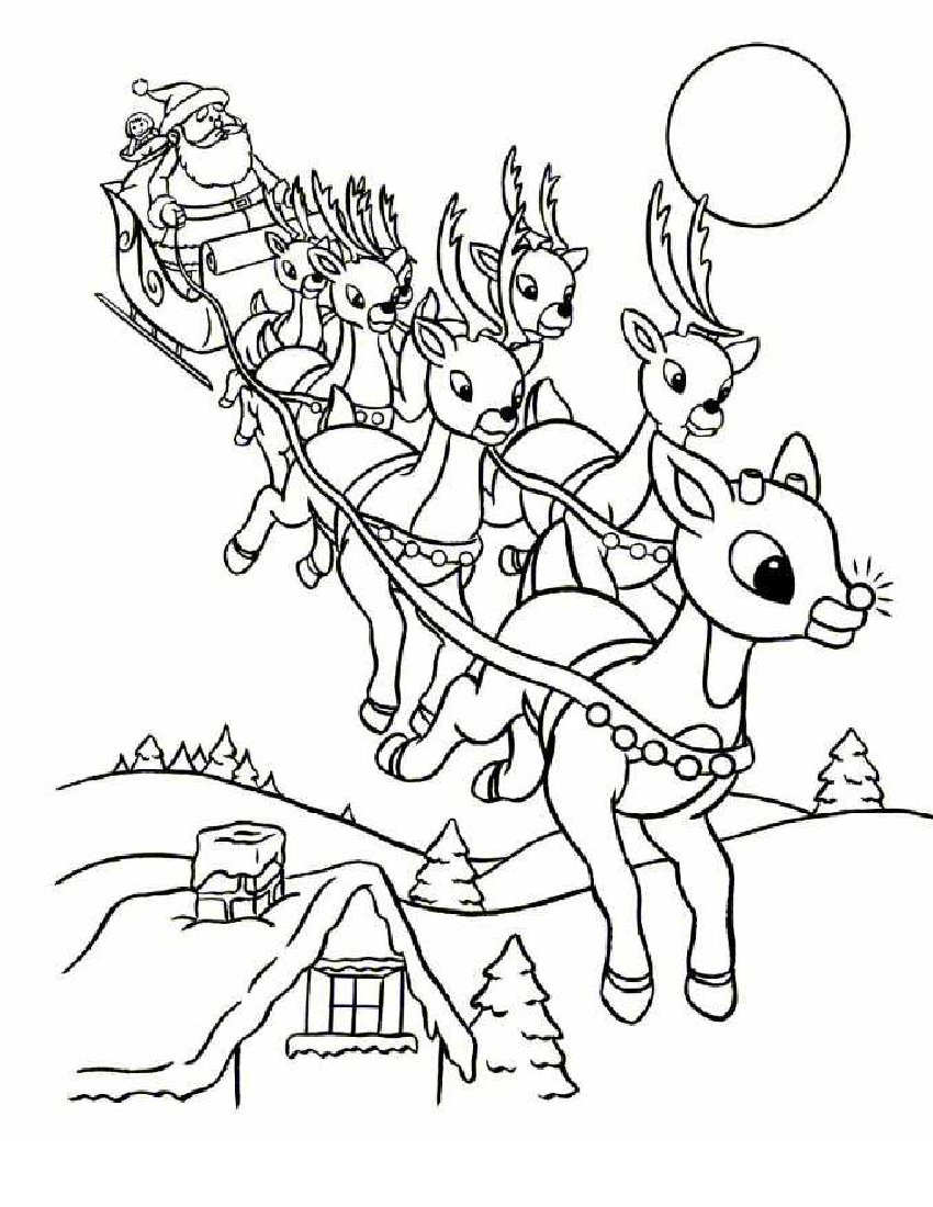 Coloriage Rennes Magiques Du Père Noël À Imprimer Gratuit concernant Coloriage De Pere Noel A Imprimer Gratuitement