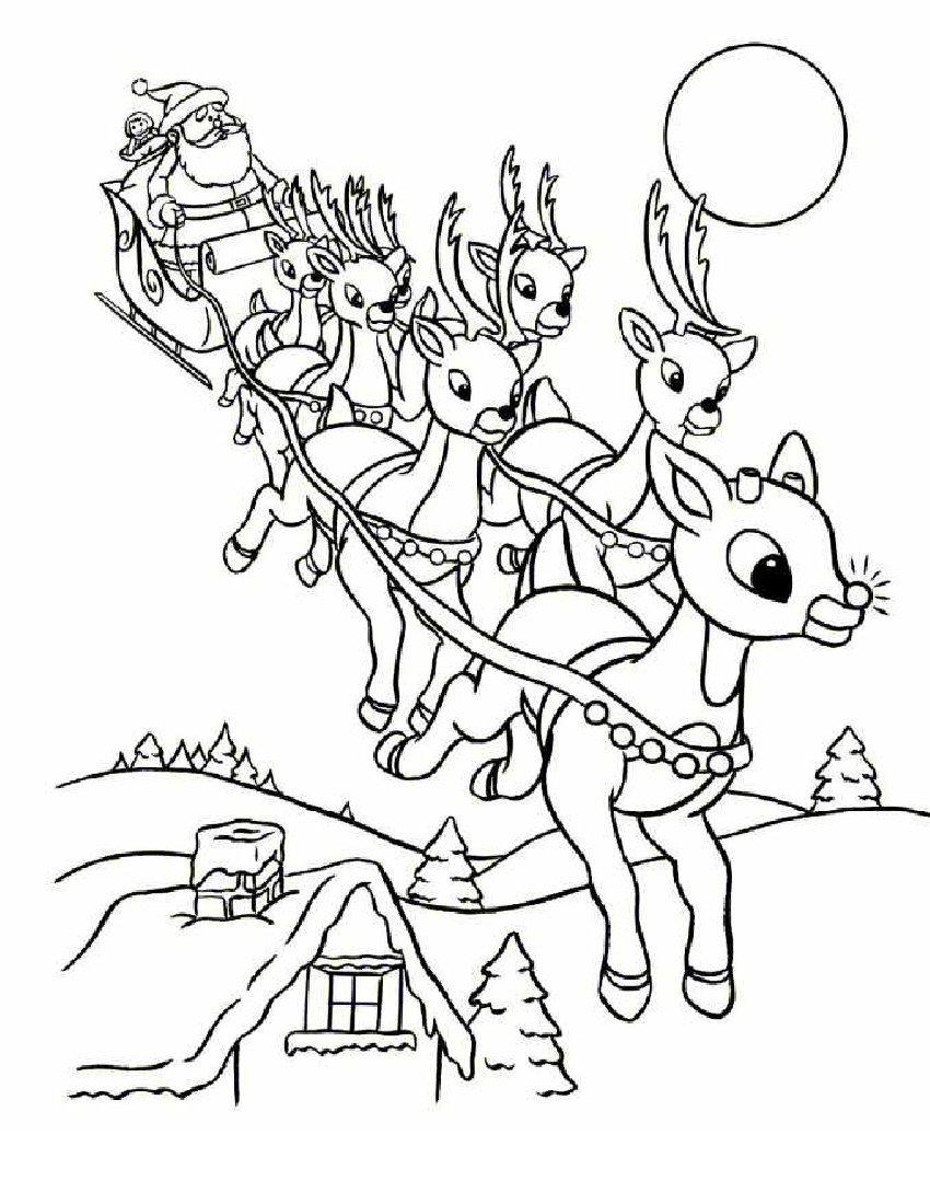 Coloriage Rennes Magiques Du Père Noël À Imprimer Gratuit intérieur Coloriage De Père Noel Gratuit A Imprimer