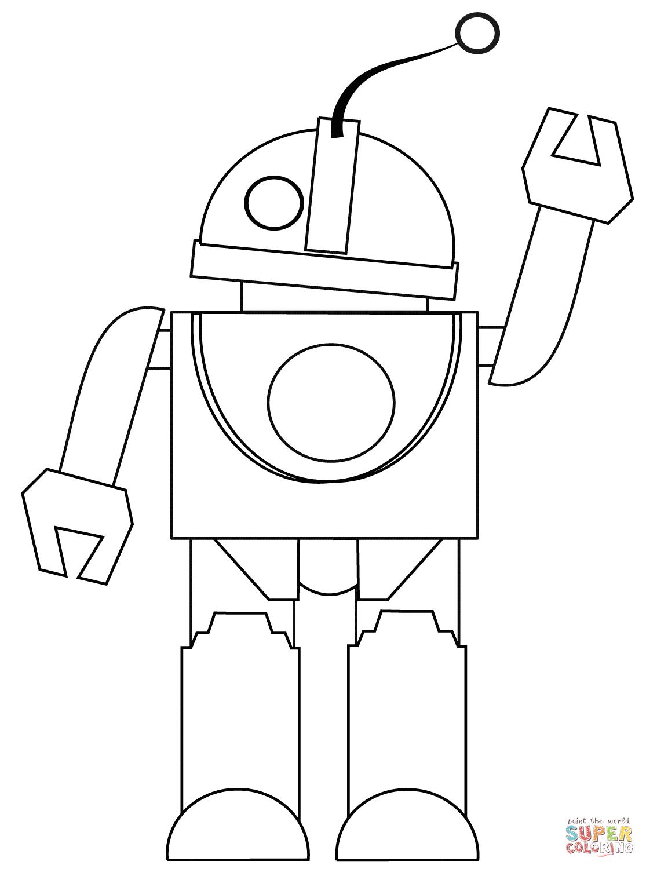 Coloriage - Robot Dit Salut! | Coloriages À Imprimer Gratuits pour Coloriage Robot À Imprimer