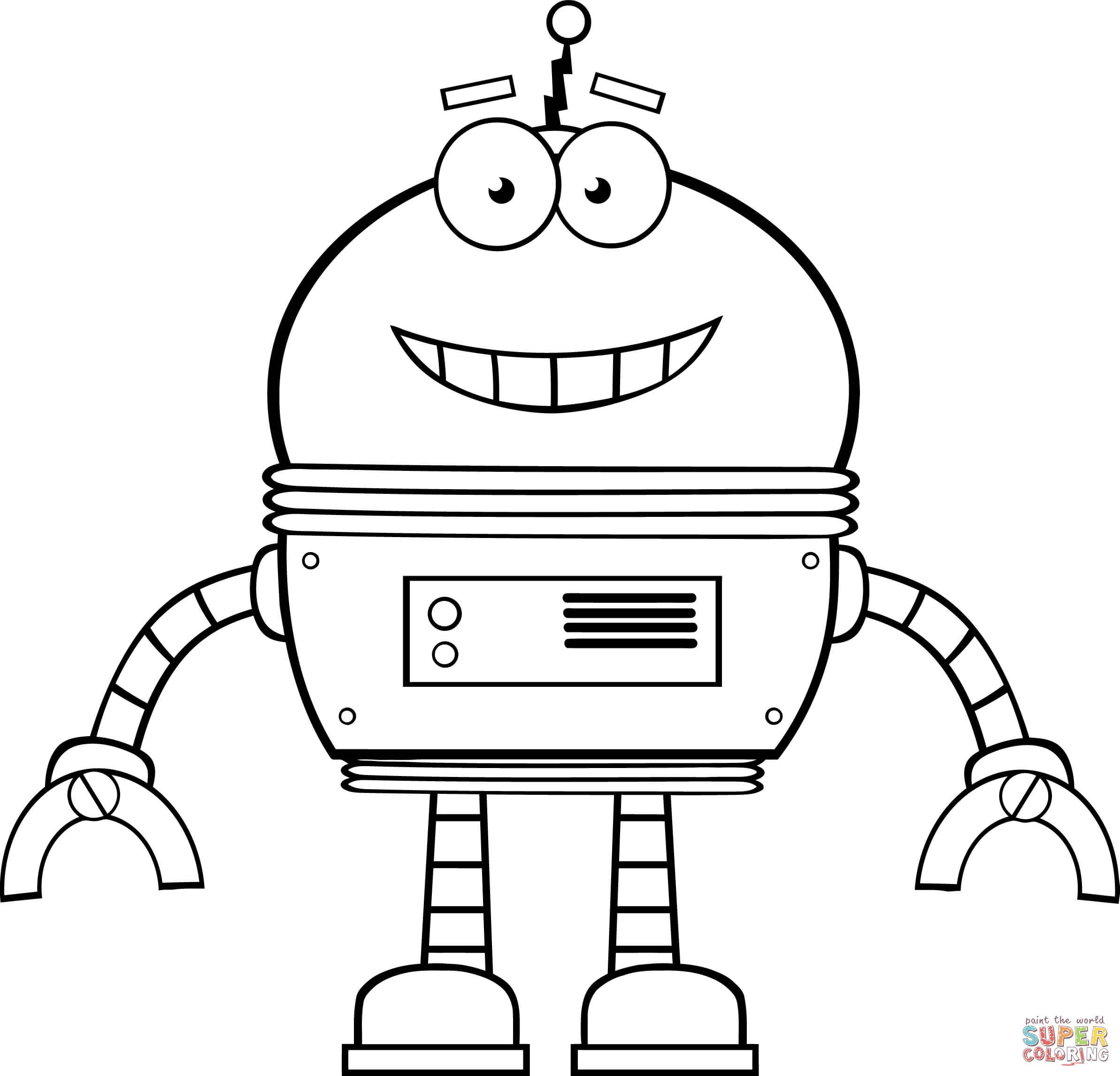 Coloriage - Robot Souriant | Coloriages À Imprimer Gratuits serapportantà Coloriage Robot À Imprimer
