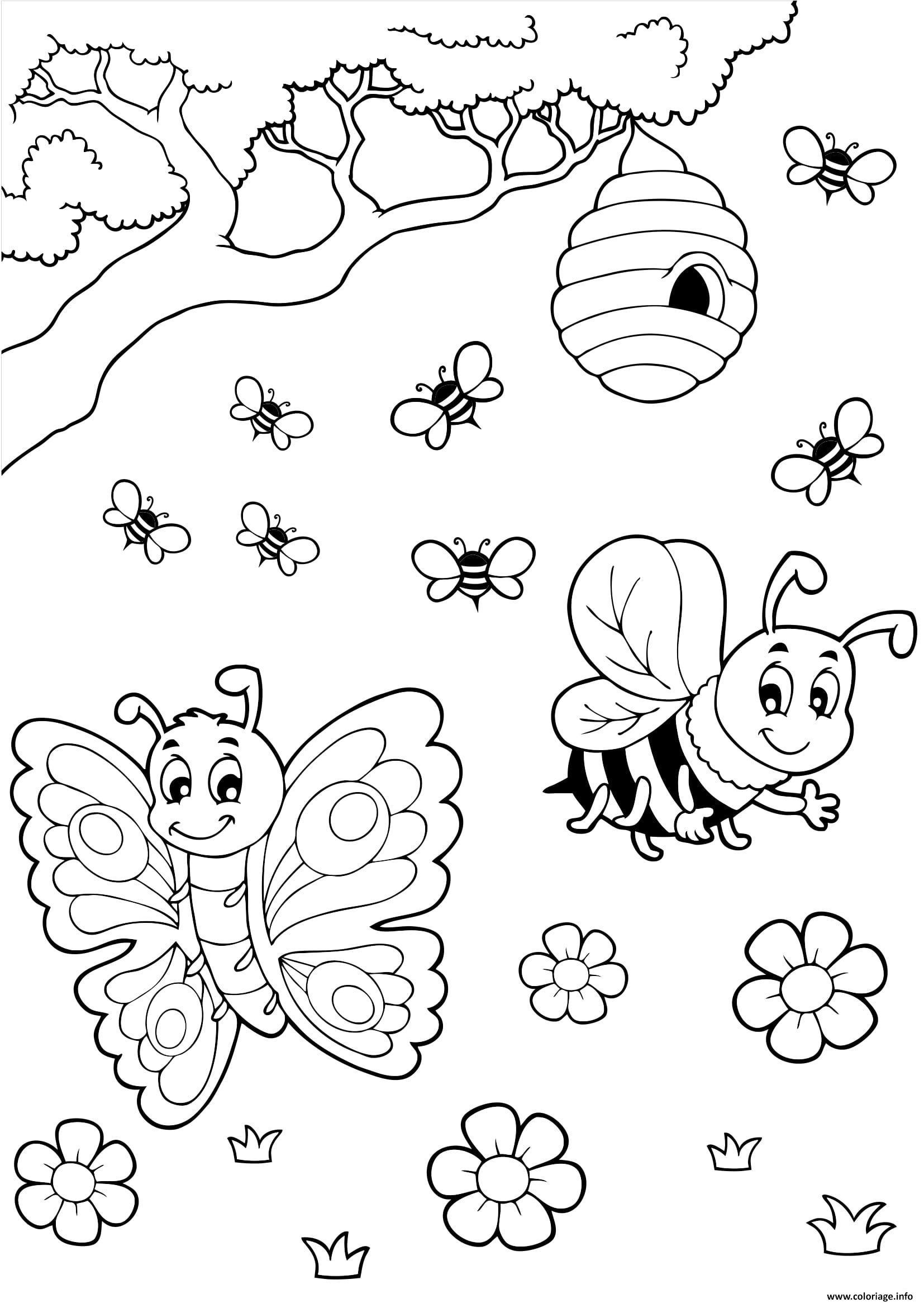 Coloriage Ruche Papillon Abeille Miel Dessin destiné Dessin A Imprimer Papillon Gratuit