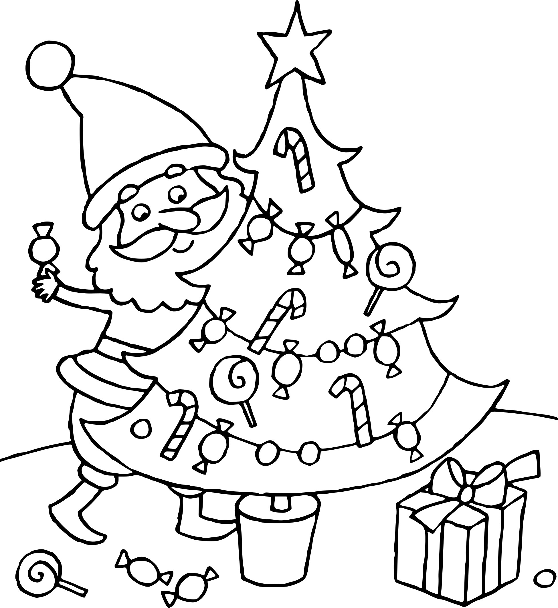 Coloriage Sapin De Noel Et Pere Noel À Imprimer intérieur Coloriage De Sapin De Noel A Imprimer Gratuit