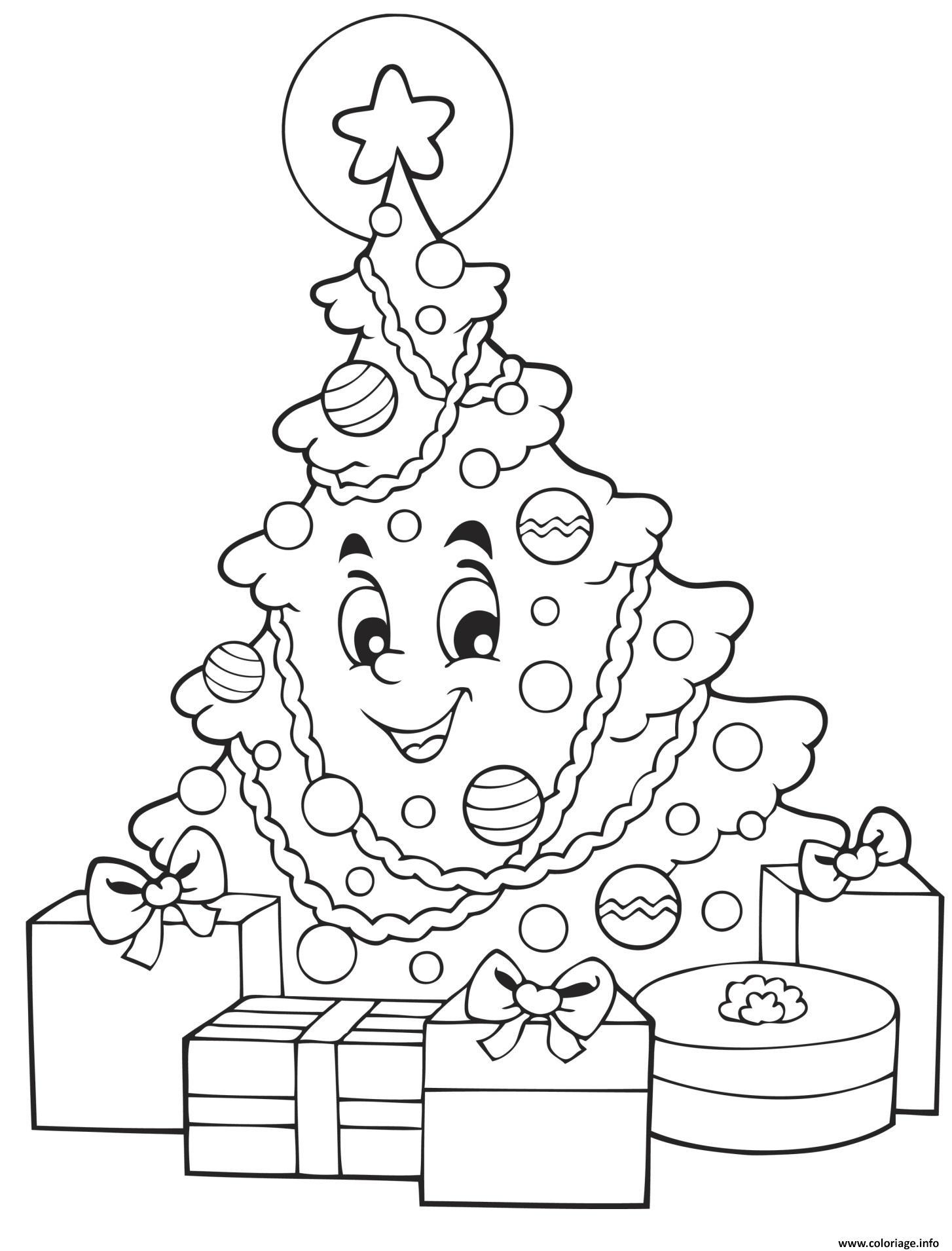Coloriage Sapin De Noel Souriant Avec Des Cadeaux De Noel Dessin pour Coloriage De Sapin De Noel A Imprimer Gratuit