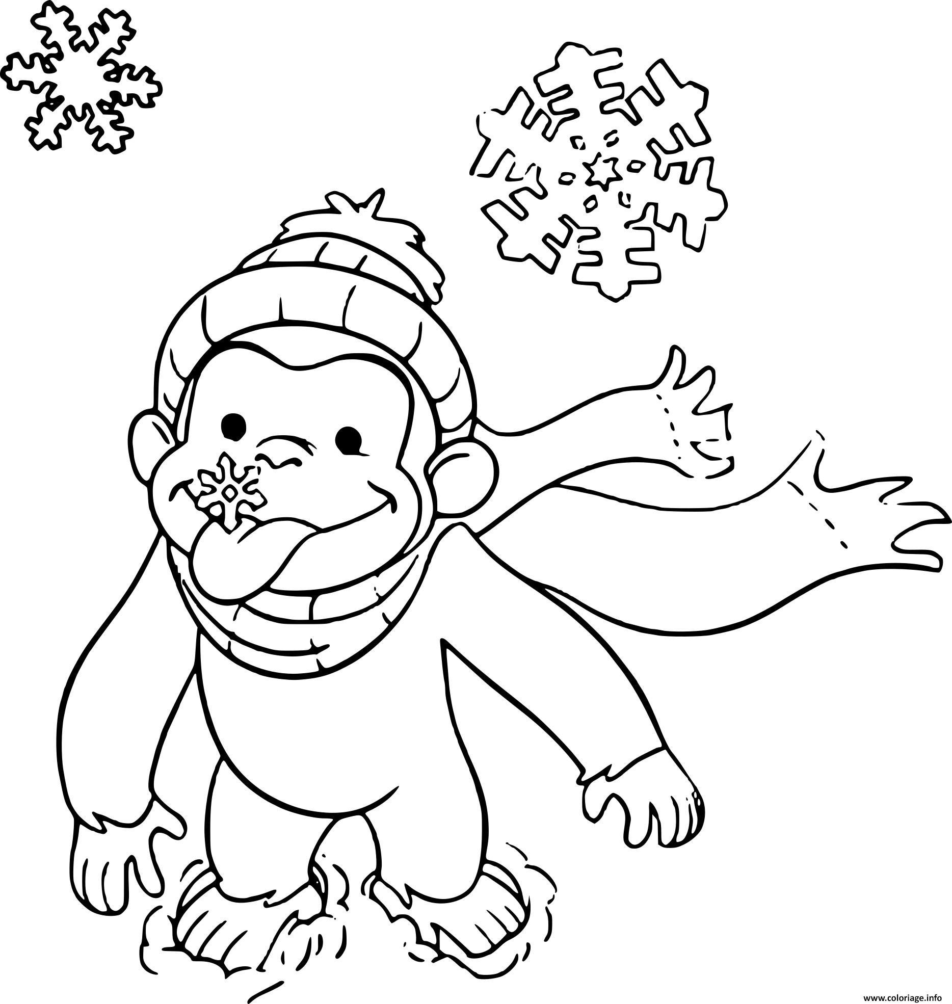 Coloriage Singe Facile Sur La Neige Dessin encequiconcerne Coloriage Gorille