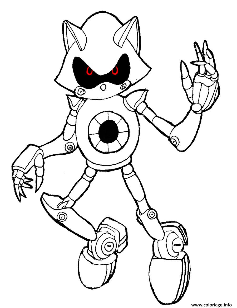 Coloriage Sonic Robot Avec Les Yeux Rouge Dessin intérieur Coloriage Robot À Imprimer