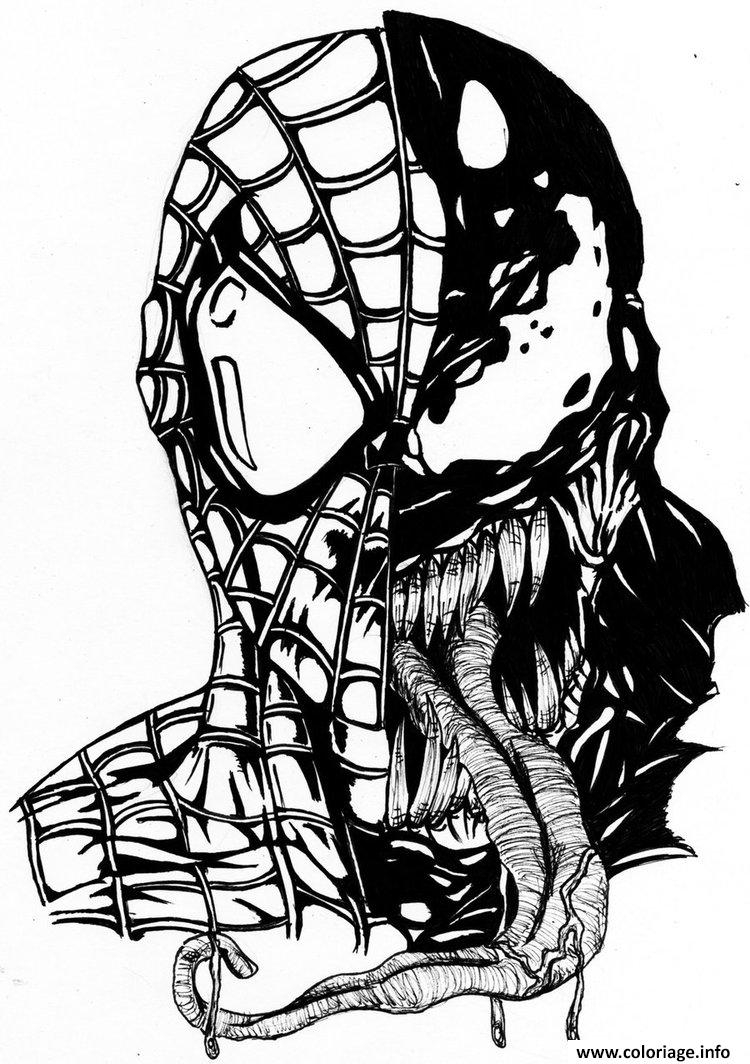 Coloriage Spiderman Venom Mask - Jecolorie | Coloriage serapportantà Tete Spiderman A Imprimer