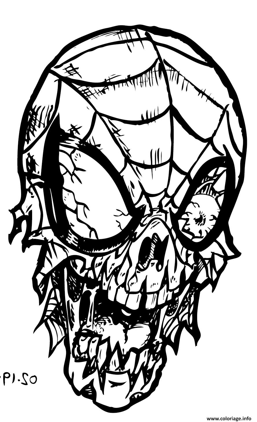 Coloriage Spiderman Zombie Dessin encequiconcerne Tete Spiderman A Imprimer