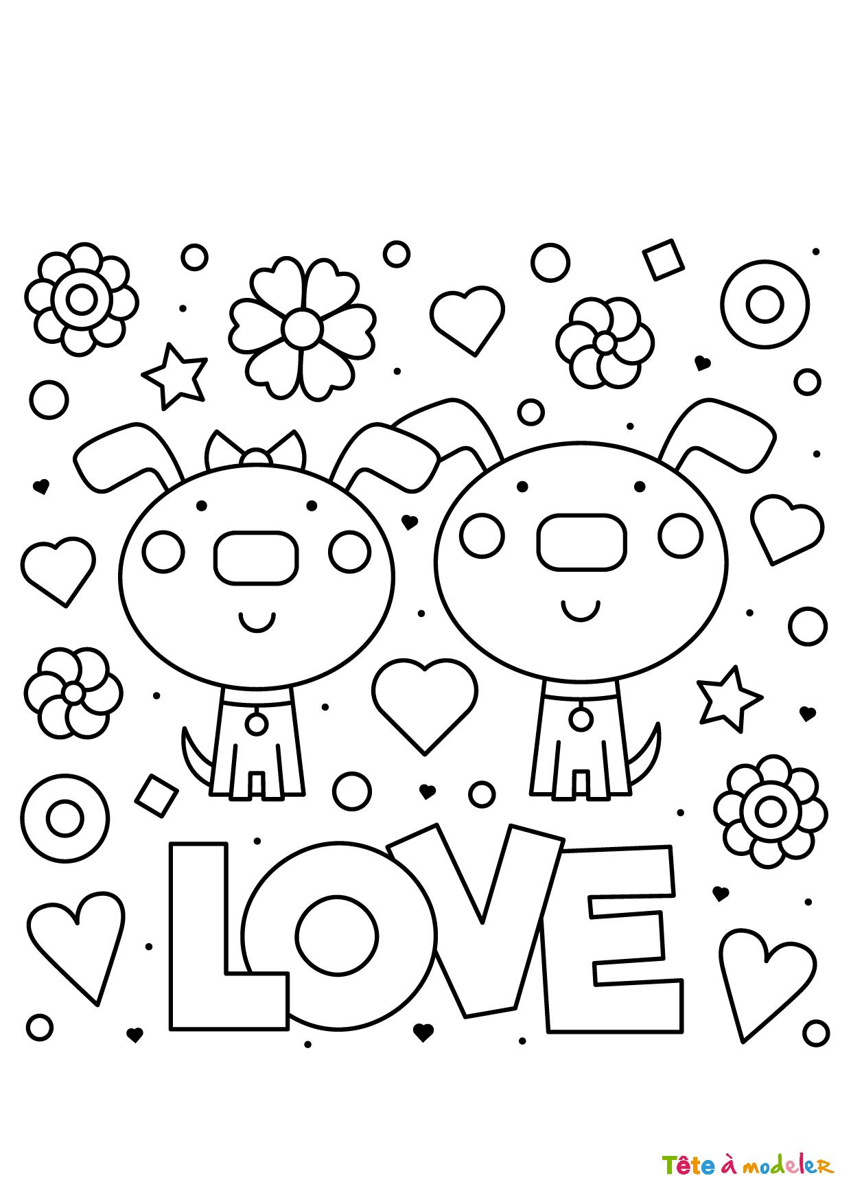 Coloriage St Valentin Couple - Tête À Modeler intérieur Sudoku Junior À Imprimer
