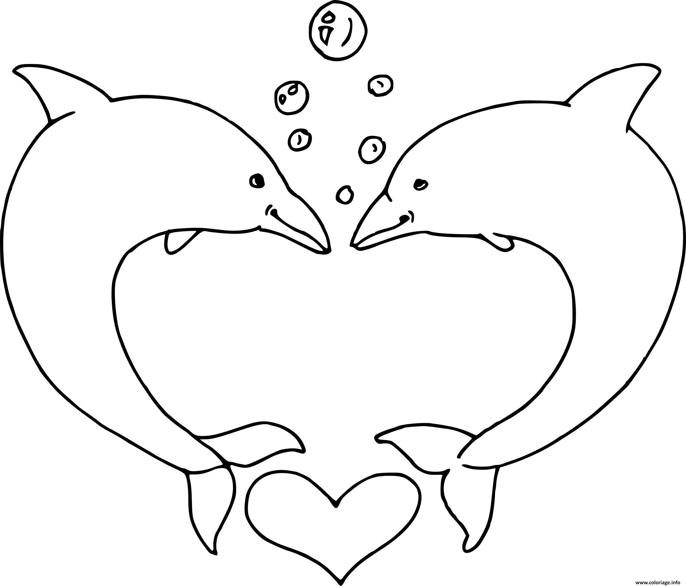 Coloriage St Valentin Dauphin Coeur Dessin destiné Coloriage A Imprimer De Dauphin