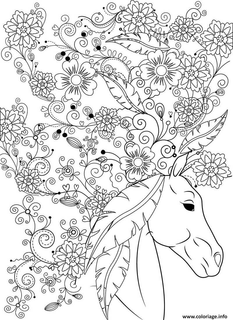 Coloriage Sublime Cheval Animal Fleurs Pour Adulte Dessin tout Dessin A Imprimer Pour Adulte