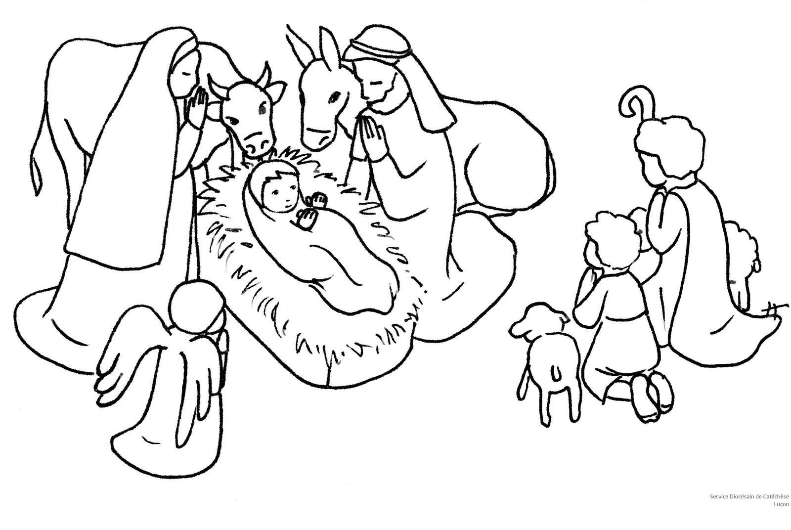 Coloriage Sur La Crèche De Noël, L'enfant Jésus, La Nativité avec Creche A Imprimer