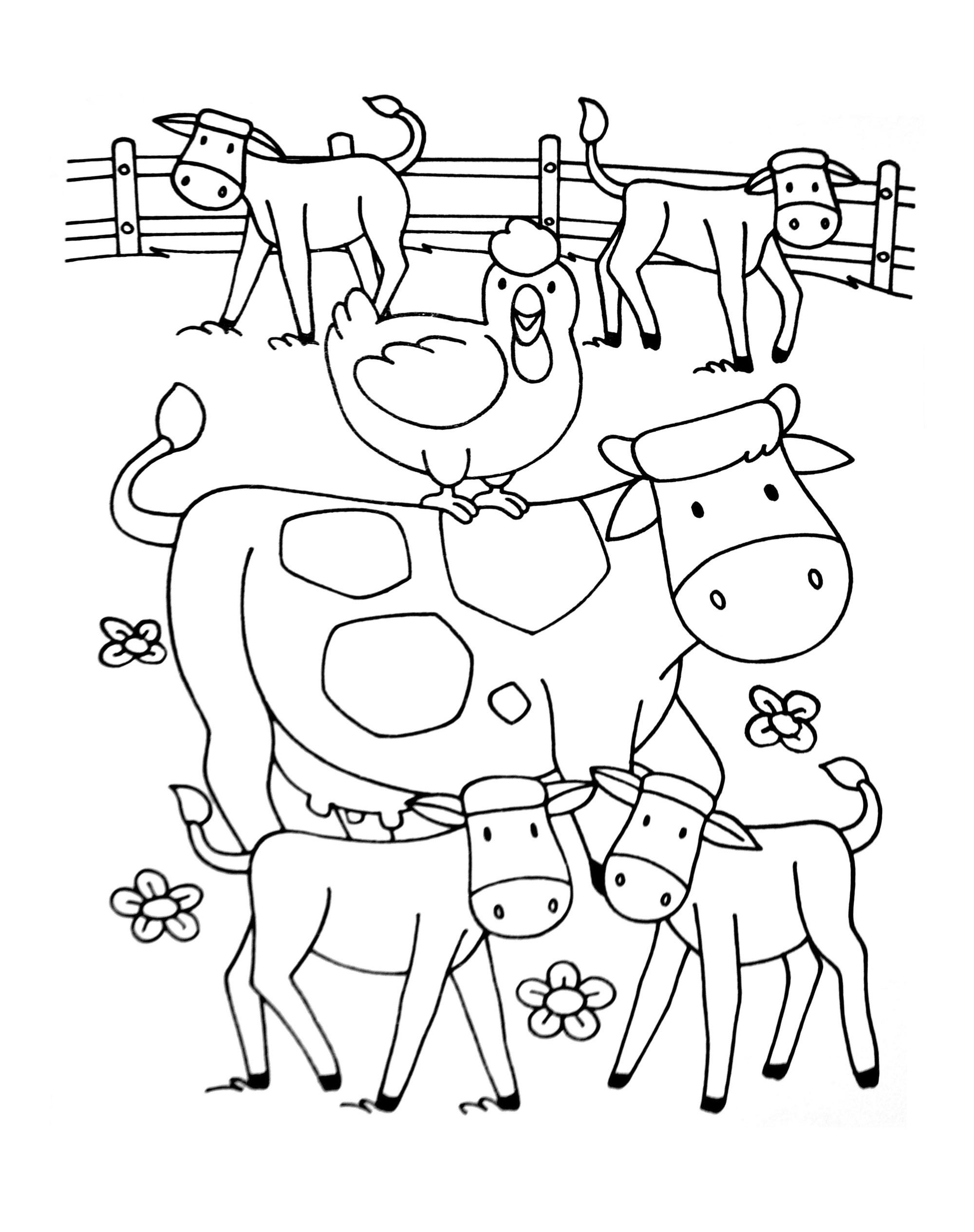 Coloriage Sur La Ferme (Tracteurs, Fermier, Animaux destiné Dessin Animaux De La Ferme À Imprimer