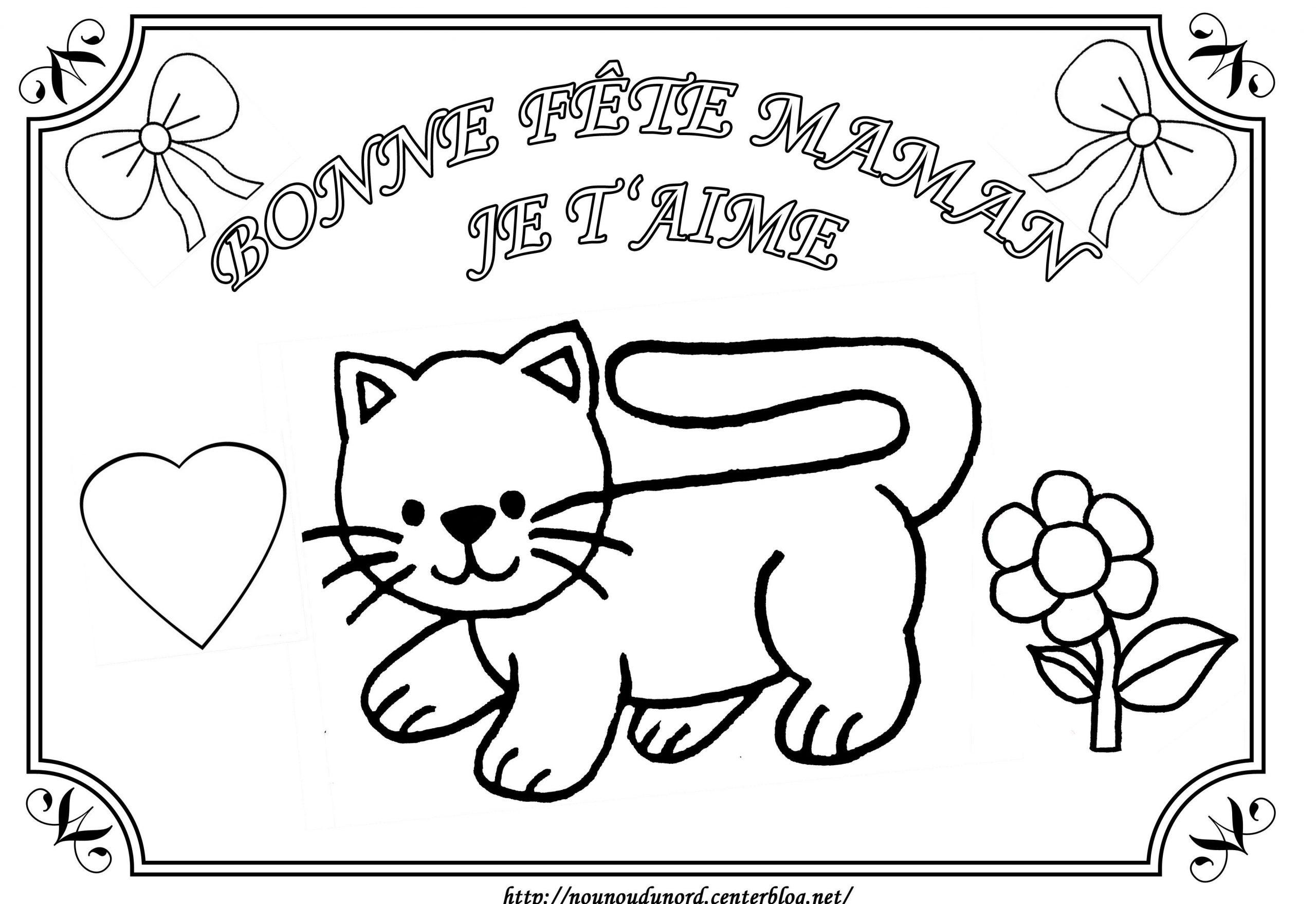 Coloriage Tableau Chat Fête Des Mères pour Coloriage De Chat De Noel