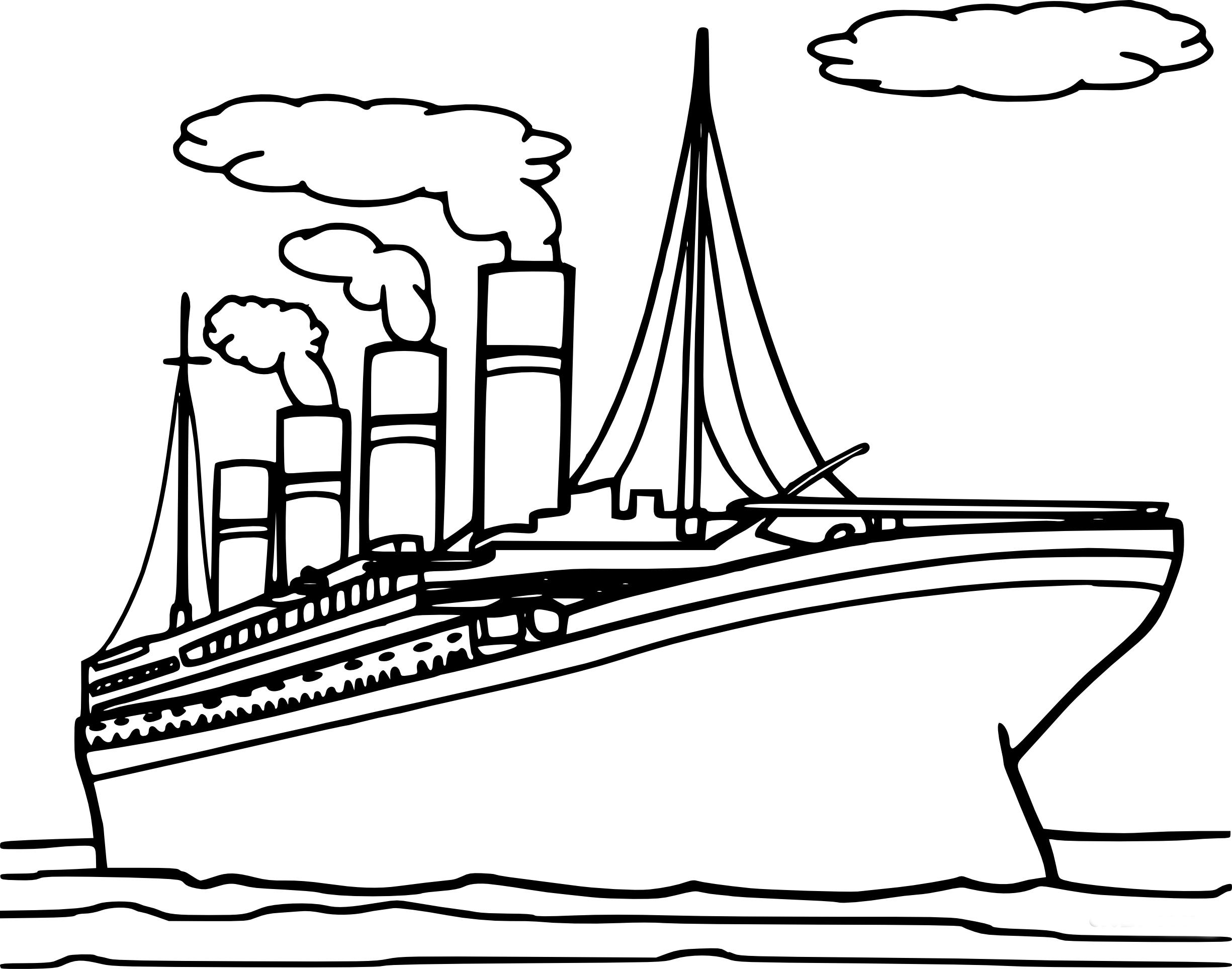 Coloriage Titanic À Imprimer concernant Paquebot Dessin