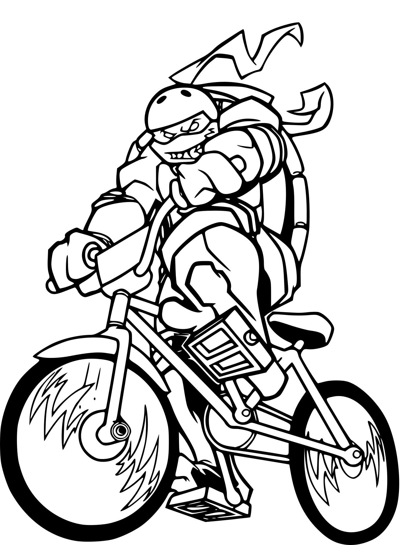 Coloriage Tortue Ninja En Moto À Imprimer Sur Coloriages à Dessin De Tortue Ninja