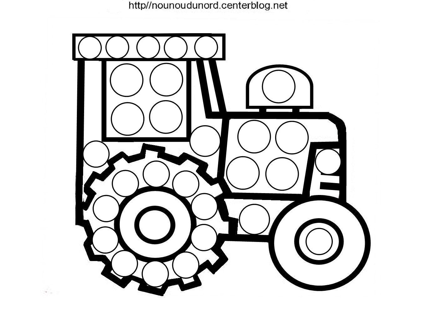 Coloriage Tracteur À Gommettes pour Dessin De Tracteur À Colorier