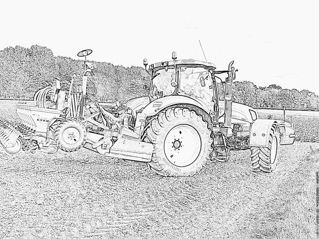 Coloriage Tracteur Champ Oiseaux 30 À Imprimer Pour Les destiné Tracteur À Colorier