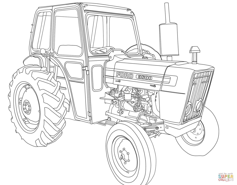 Coloriage - Tracteur Ford 3600 | Coloriages À Imprimer Gratuits destiné Dessin De Tracteur À Colorier