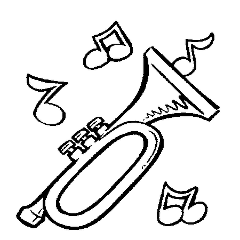 Coloriage Trompette En Ligne Gratuit À Imprimer avec Trompette À Colorier