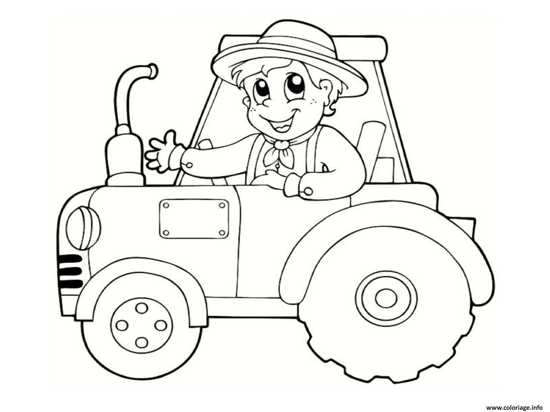 Coloriage Un Fermier Heureux Sur Son Tracteur Dessin serapportantà Dessin De Tracteur À Colorier