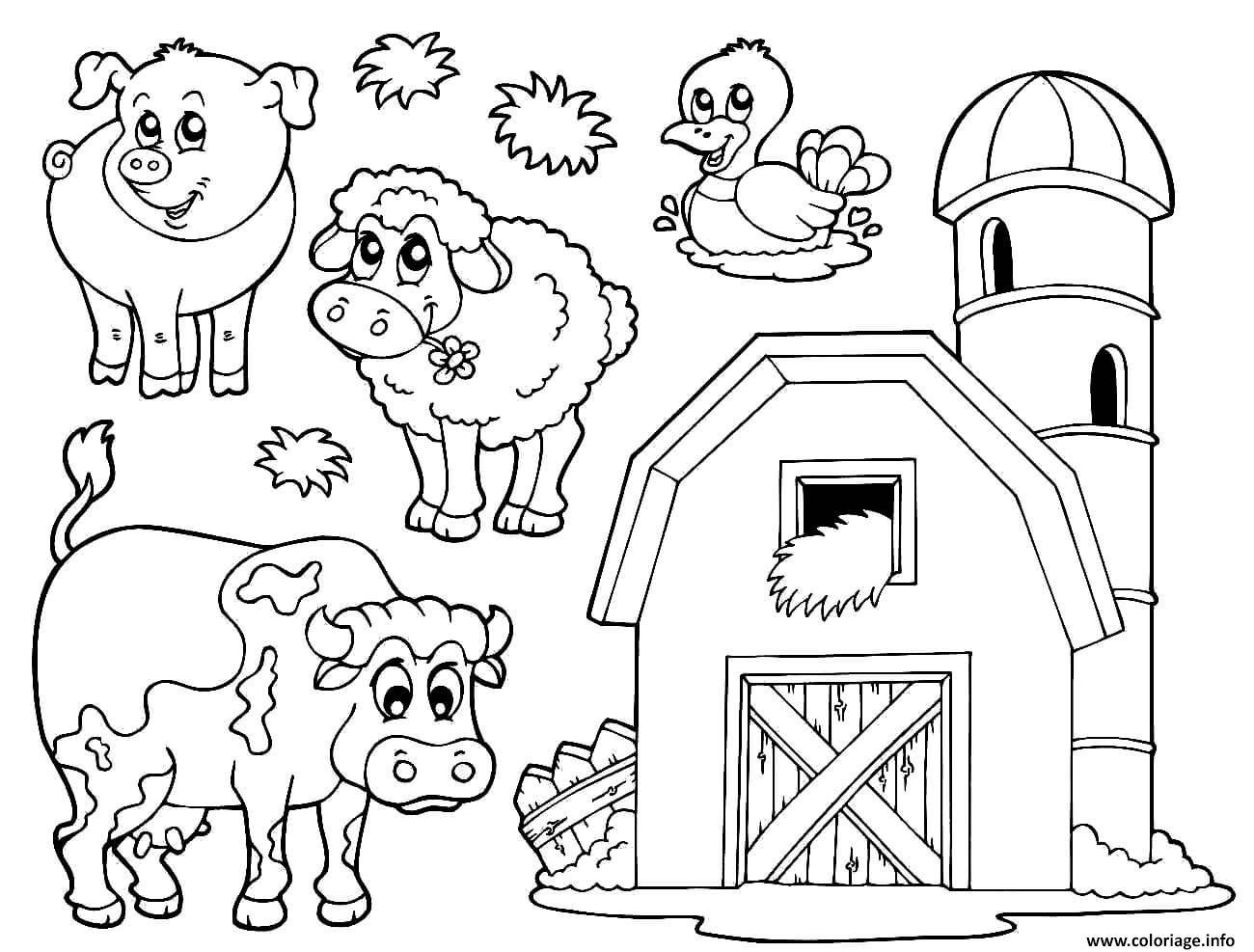 Coloriage Une Ferme Avec Animaux Dessin intérieur Dessin Animaux De La Ferme À Imprimer