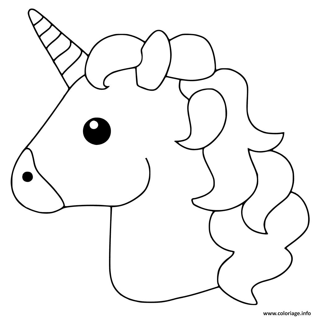 Coloriage Unicorn Emoji Dessin pour Dessin À Colorier En Ligne Gratuit
