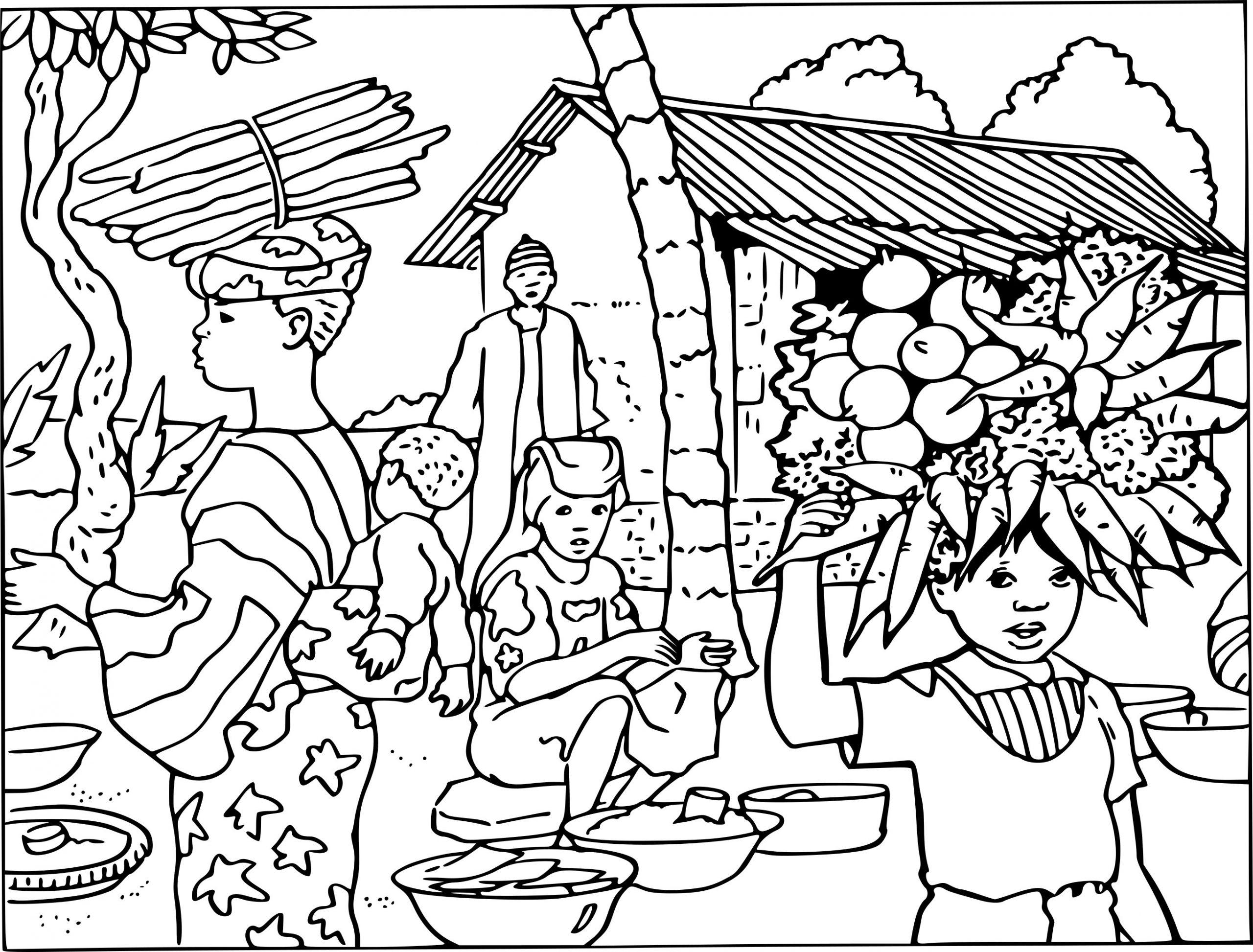 Coloriage Village Afrique À Imprimer dedans Dessin Africain A Colorier