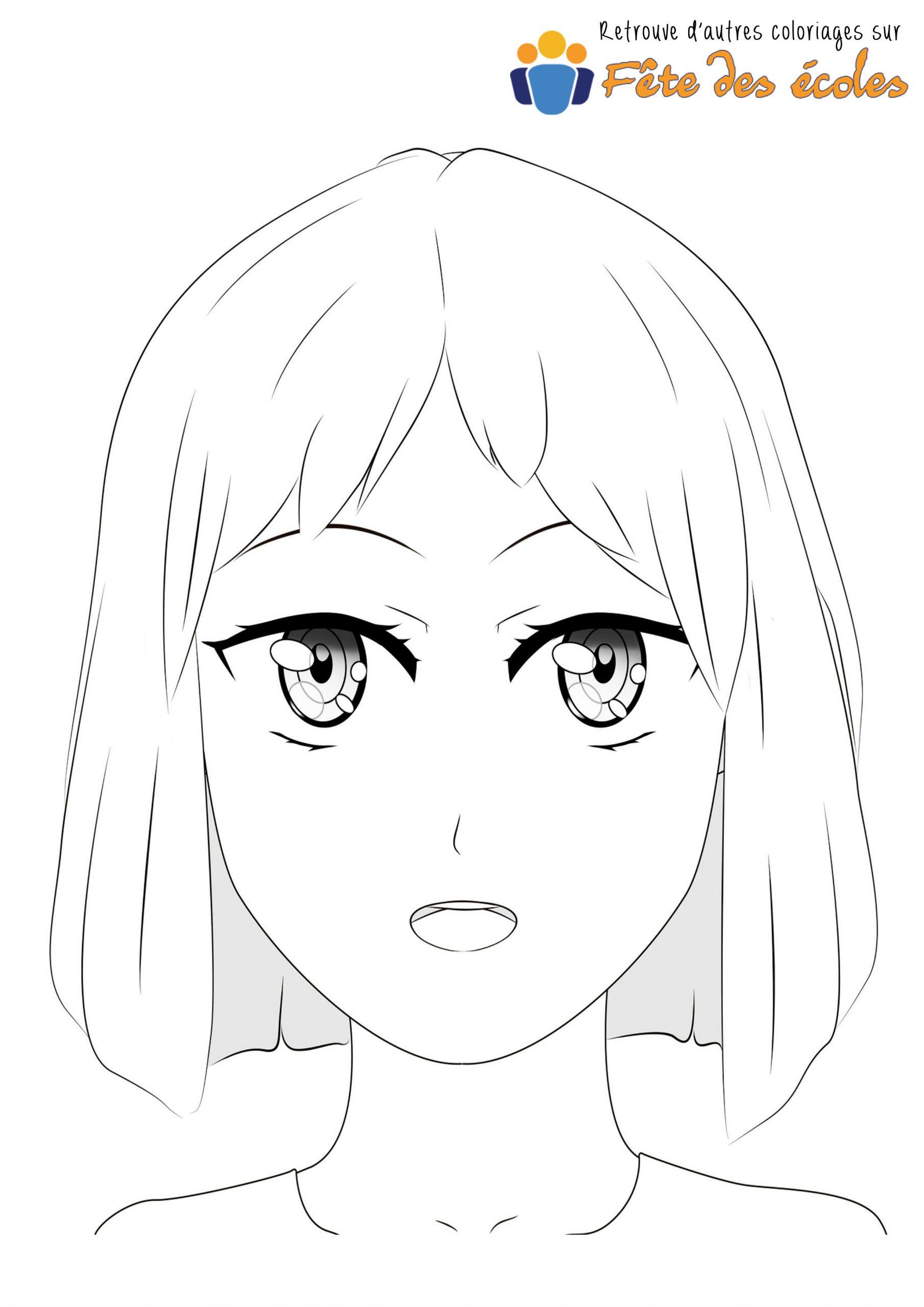 Coloriage Visage Fille De Manga à Visage À Colorier