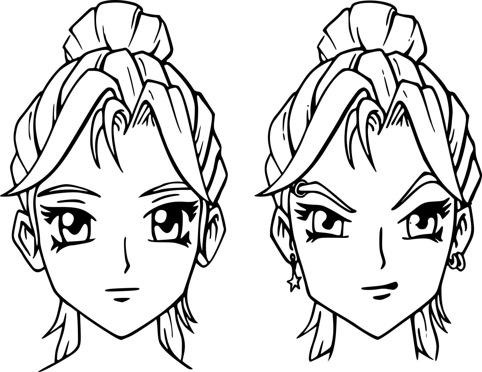 Coloriage Visage Fille Manga À Imprimer Sur Coloriages destiné Visage À Colorier