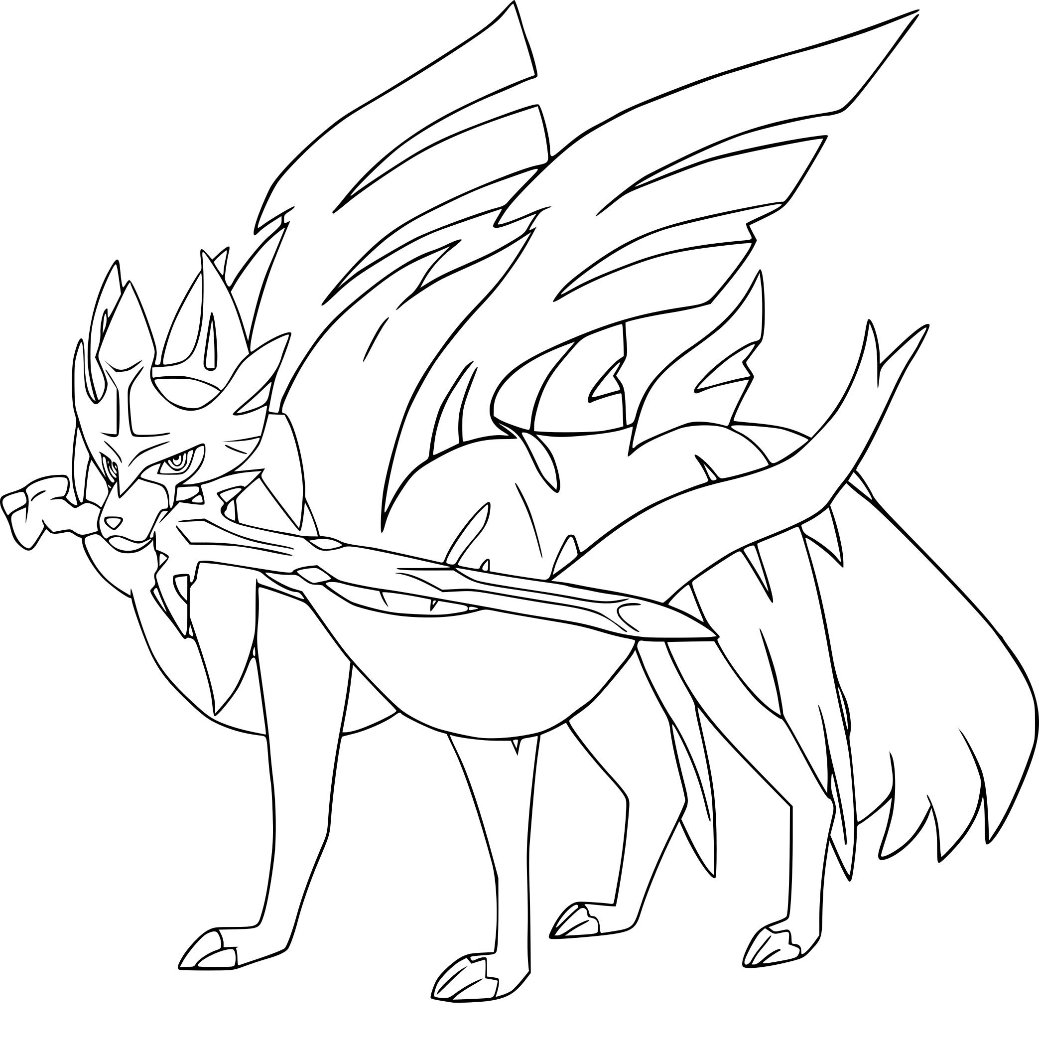 Coloriage Zacian Pokemon À Imprimer concernant Coloriage D Épée