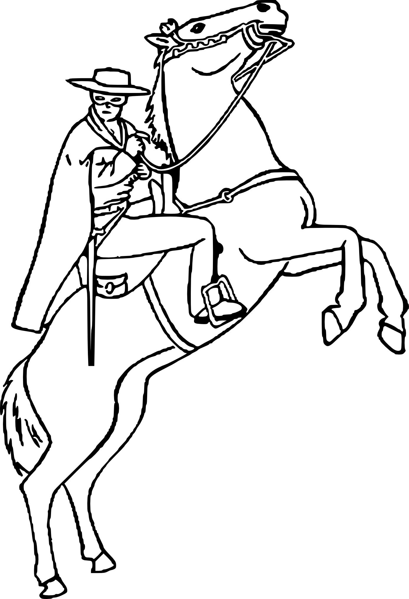 Coloriage Zorro Sur Un Cheval À Imprimer encequiconcerne Jeux De Coloriage De Cheval