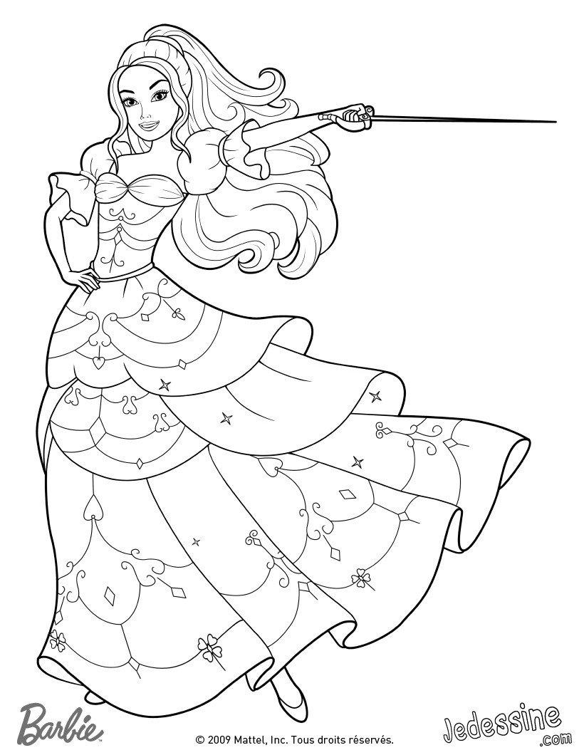 Coloriages Barbie Et Les 3 Mousquetaires - 69 Coloriages concernant Coloriage D Épée