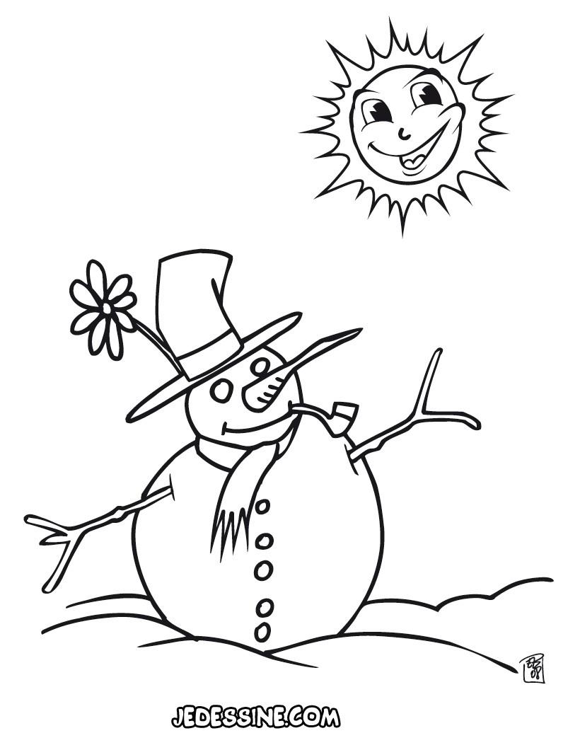 Coloriages Bonhomme De Neige À La Fin De L'hiver - Fr destiné Dessin Bonhomme De Neige A Imprimer
