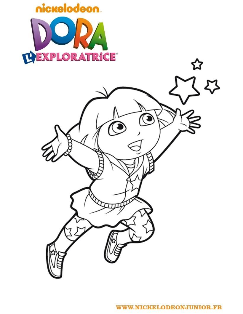 Coloriages Coloriage De Dora L'exploratrice - Fr.hellokids dedans Coloriage Dora Princesse