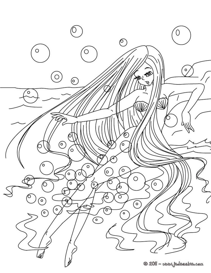 Coloriages Coloriage Gratuit La Petite Sirène - Fr.hellokids à La Petite Sirène À Colorier