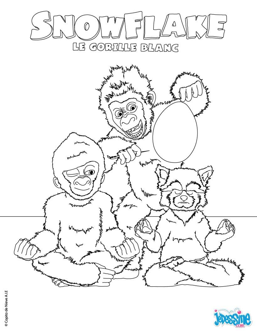 Coloriages Coloriage Gratuit Snowflake - Fr.hellokids encequiconcerne Coloriage Gorille