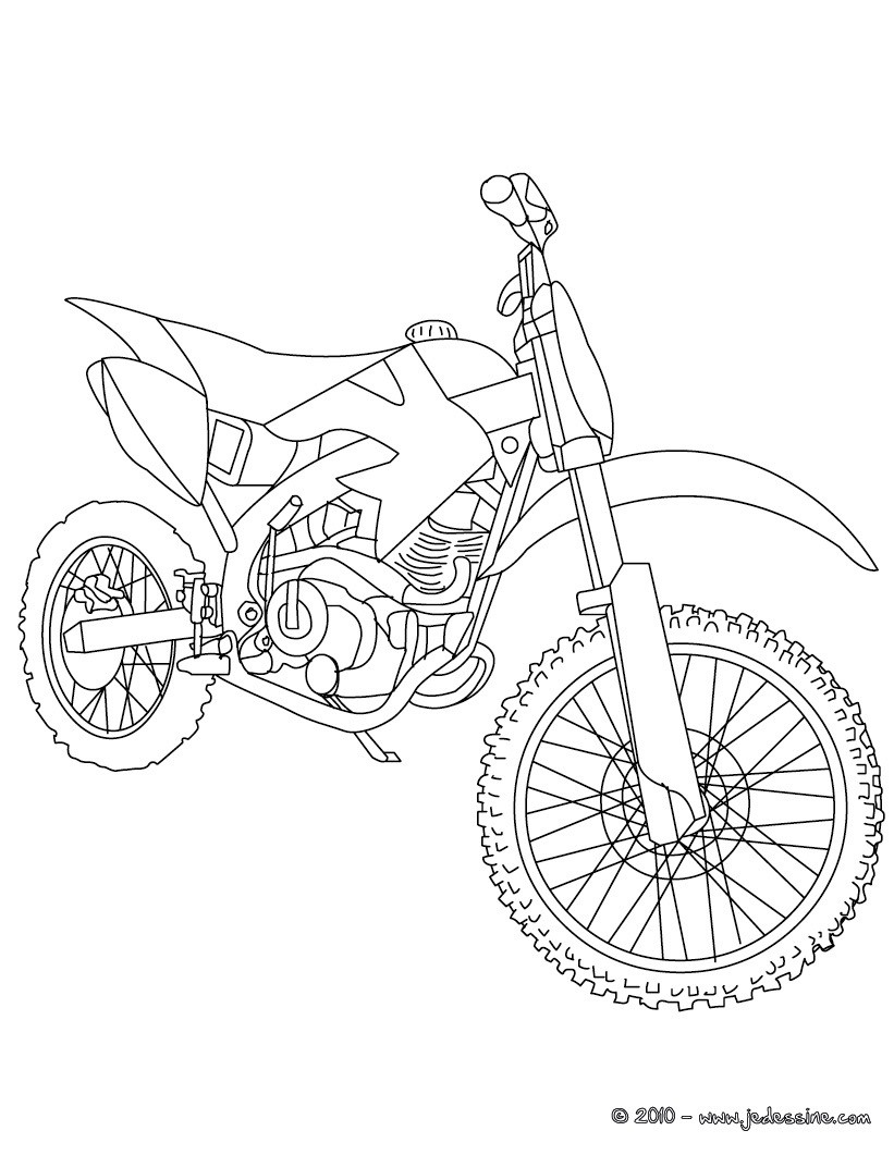 Coloriages Coloriage Moto-Cross Gratuit - Fr.hellokids avec Jeux Moto En Ligne Gratuit