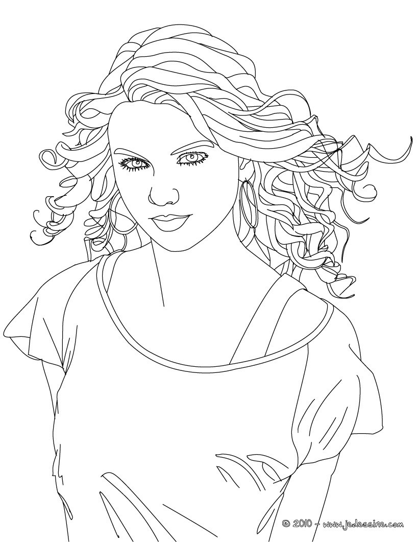 Coloriages Colorier Taylor Swift - Fr.hellokids à Visage À Colorier