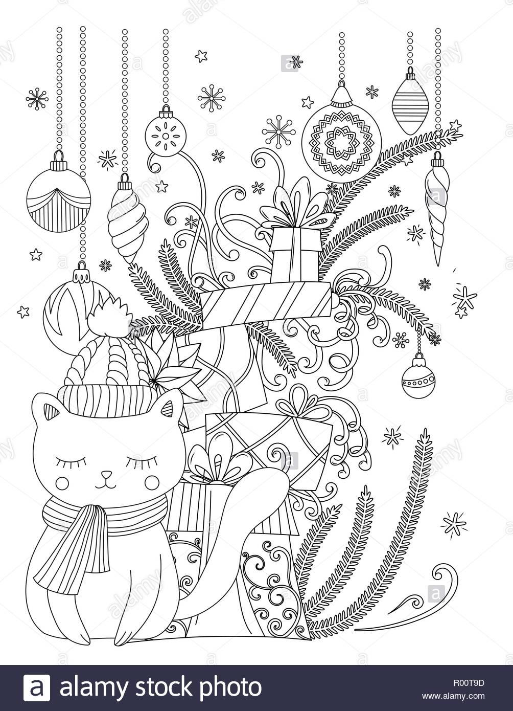 Coloriages De Noël Pour Les Enfants Et Les Adultes. Chat dedans Coloriage De Chat De Noel