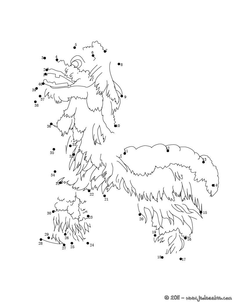 Coloriages Dragon Chinois En Points À Relier - Fr.hellokids pour Jeux Relier Les Points
