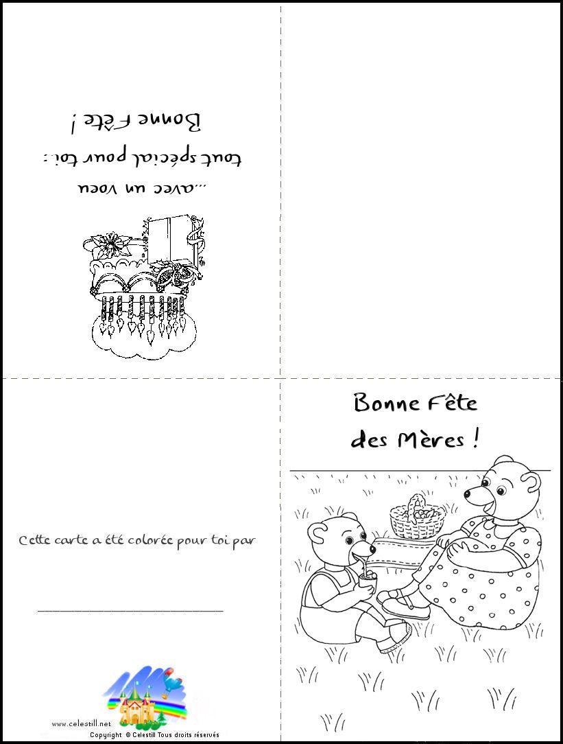 Coloriages Enfants - Carte À Imprimer Et À Colorier Bonne à Carte Fête Des Mères À Imprimer