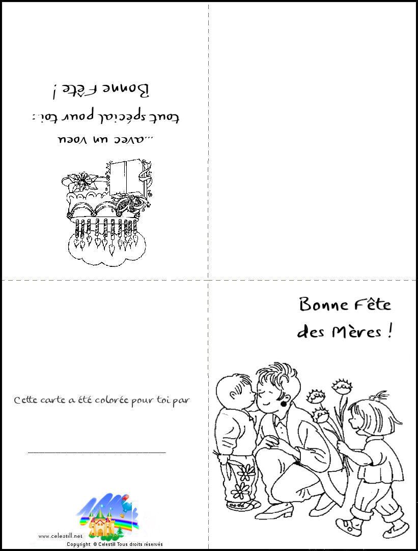 Coloriages Enfants - Carte À Imprimer Et À Colorier Bonne concernant Carte Fête Des Mères À Imprimer