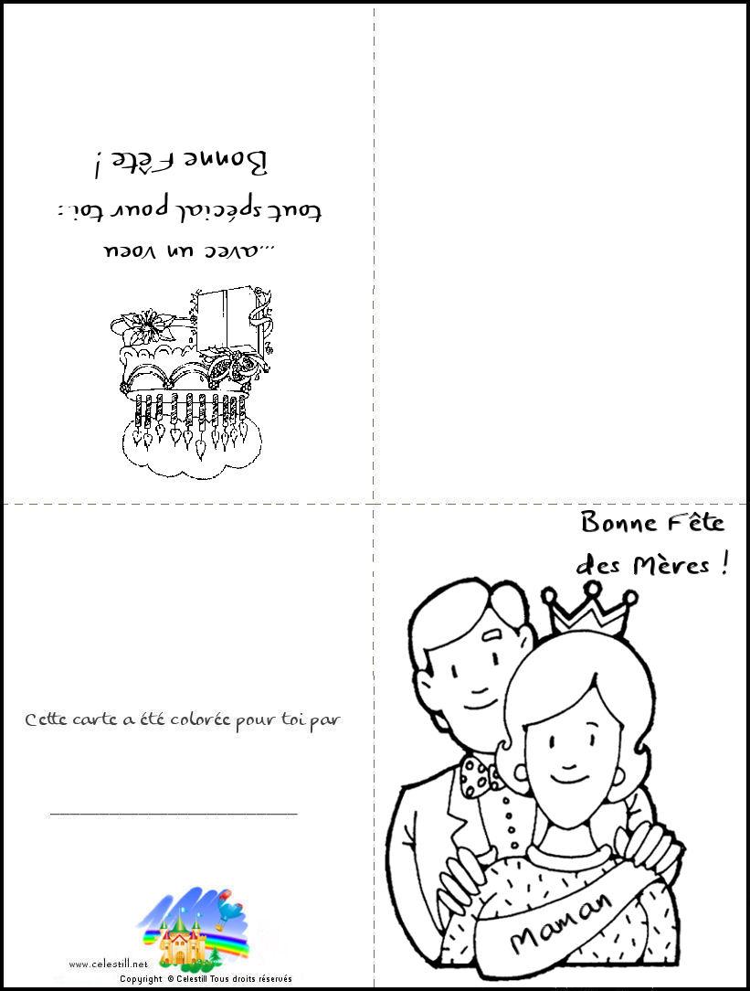 Coloriages Enfants - Carte À Imprimer Et À Colorier Bonne tout Carte A Imprimer Fete Des Meres