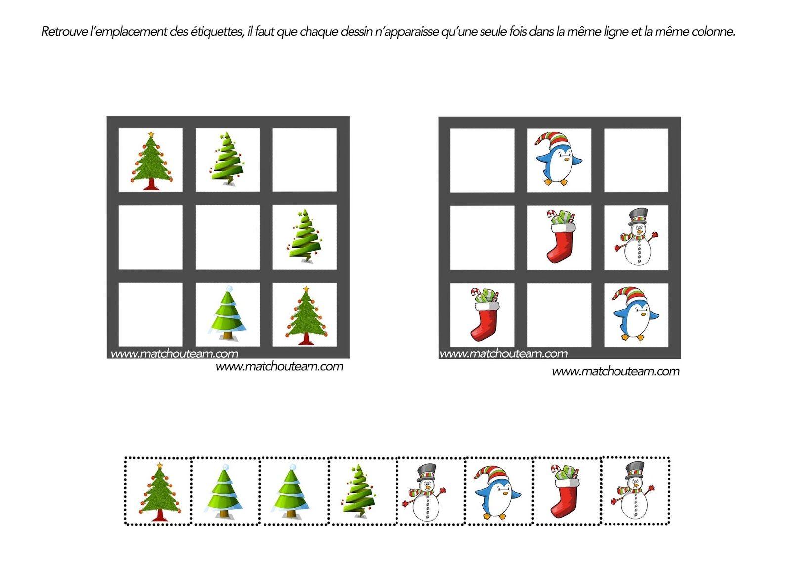 Coloriages Et Jeux Pour Noël   Jeux Noel, Noël Maternelle pour Sudoku Pour Enfant