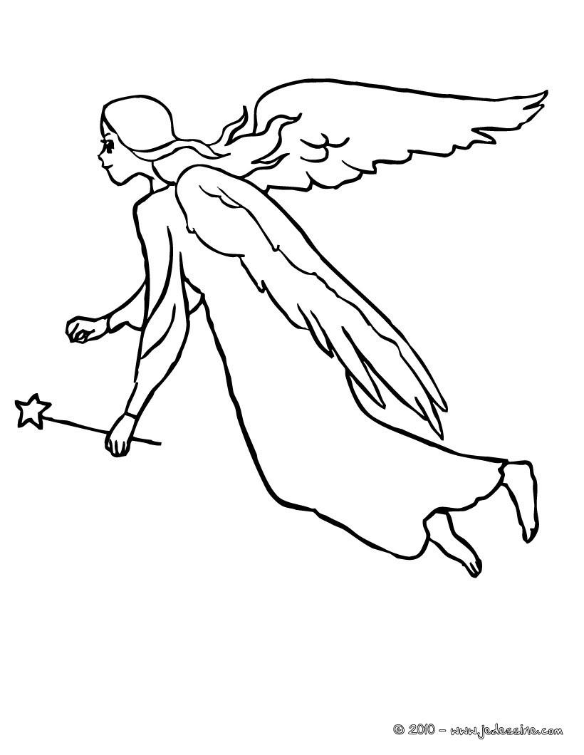 Coloriages Fée Ange Volant À Colorier - Fr.hellokids serapportantà Ange A Colorier