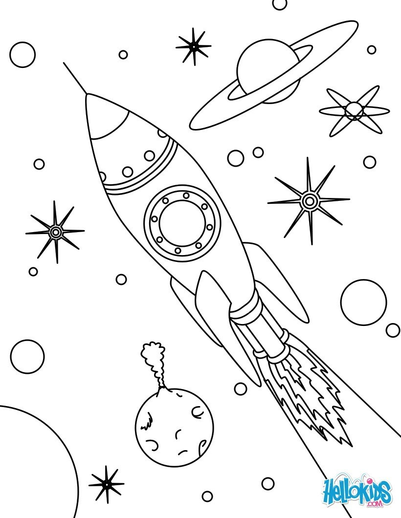 Coloriages Fusée De L'espace - Fr.hellokids pour Fusée À Imprimer