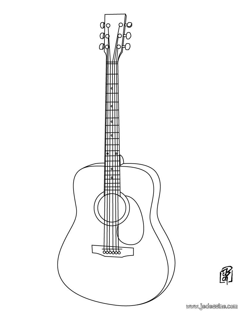 Coloriages Guitare - Fr.hellokids avec Trompette À Colorier