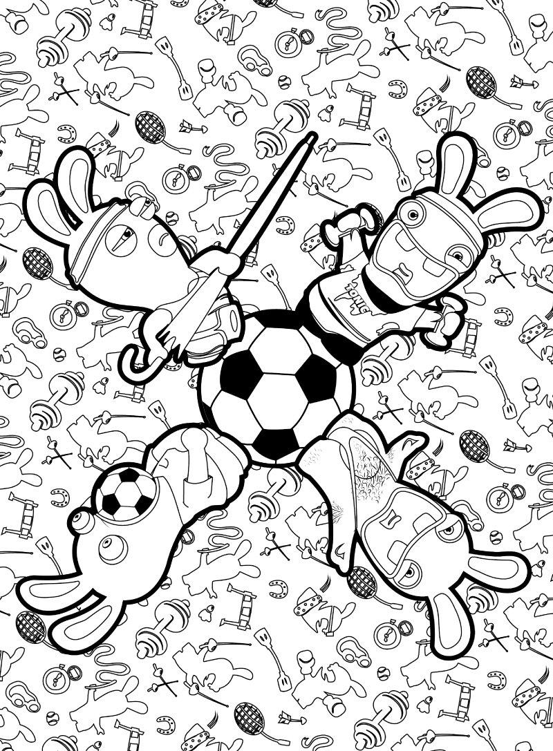 Coloriages Lapins Crétins - Le Coin Des Animateurs intérieur Lapin Crétin À Colorier